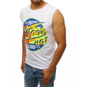 Pánske biele tričko bez rukávov s farebným motívom
