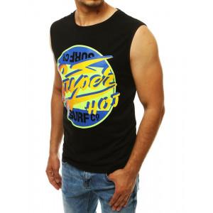 Pánske čierne tričko bez rukávov s farebným motívom