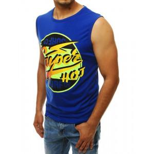 Pánske modré tričko bez rukávov s farebným motívom