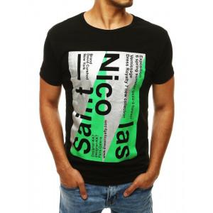 Čierne pánske tričko s potlačou v modernom štýle