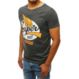 Pánske sivé tričko s modernou potlačou
