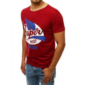 Pánske červené tričko s modernou potlačou