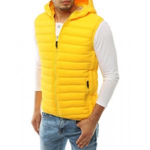 Moderná žltá pánska prešívaná vesta