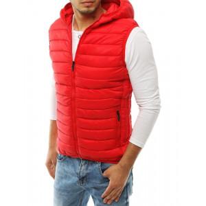 Prešívaná vesta v červenej farbe pre pánov