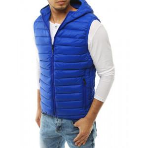 Pánska prešívaná vesta s kapucňou modrá