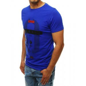 Pánsk štýlové tričko v kráľovskymodrej farbe s potlačou