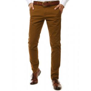 Klasické hnedé pánske bavlnené chino nohavice