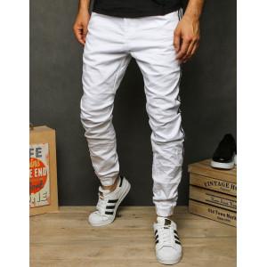 Pánske jogger nohavice bielej farby