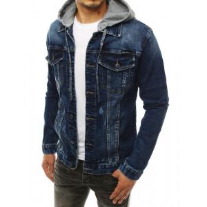 Pánska modrá bunda s kapucňou a módnymi odreninami