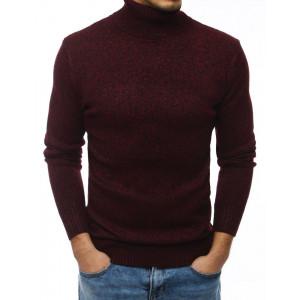 Pánsky bordový sveter cez hlavu s golierom