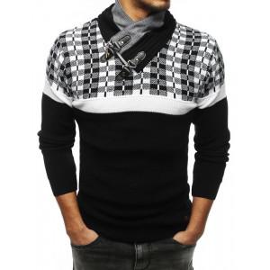 Pánsky bielo-čierny sveter s golierom