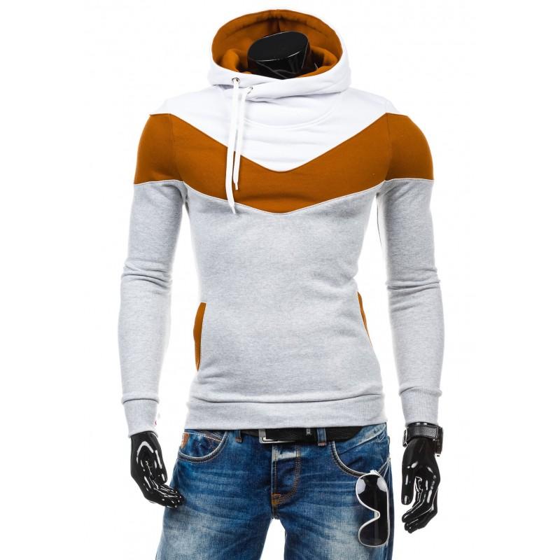 Moderné pánske mikiny bielo-hnedej farby s kapucňou - fashionday.eu 11ce9928d07