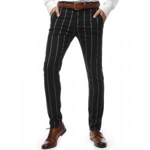 Pánske čierne bavlnené nohavice s bielymi pruhmi
