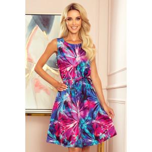 Farebné dámske letné šaty s motívom abstraktných kvetov
