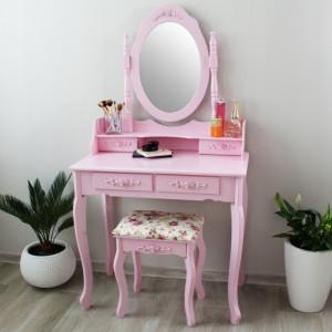 Toaletný stolík v ružovej farbe s úložným priestorom na kozmetiku a šperky