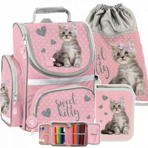 Ružová školská taška s motívom mačiatka v trojdielnej sade
