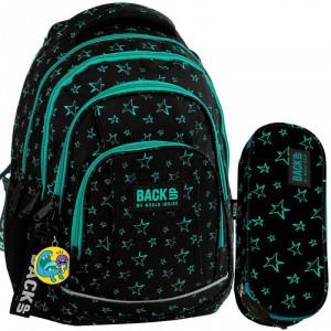 Čierna školská taška s hviezdičkami v dvojdielnom sete