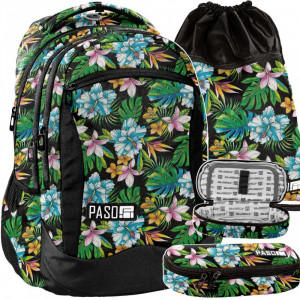 Dievčenská školská taška v trojčasťovom sete s kvetinovým motívom