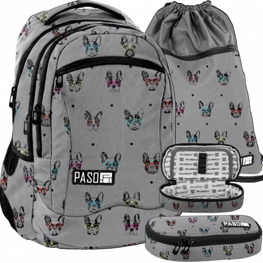 Sivá školská taška s peračníkom a vreckom na prezuvky