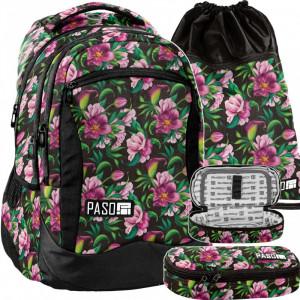 Nádherná kvetovaná školská taška v praktickej trojdielnej sade