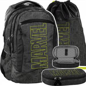 Trojdielna sivo čierna školská taška pre chlapcov MARVEL