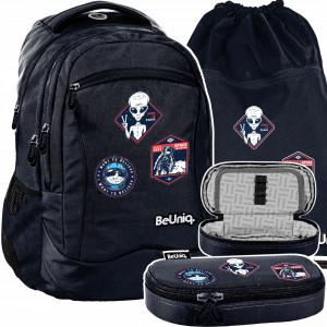 Modrá školská taška pre chlapcov v trojsade s motívom UFO