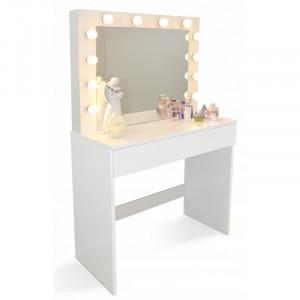 Štýlový toaletný stolík s osvetlením a veľkou zásuvkou