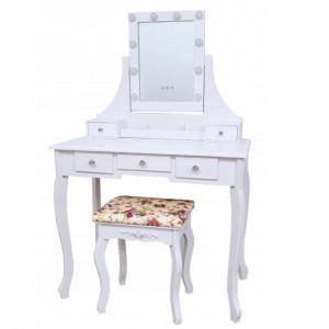Elegantný retro toaletný stolík s taburetkou a osvetlením