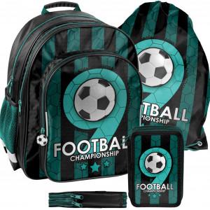 Zelená školská taška pre chlapcov v trojsade  FOOTBALL
