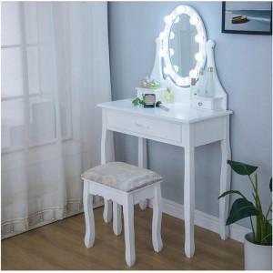 Nádherný biely LED toaletný stolík s veľkou zásuvkou