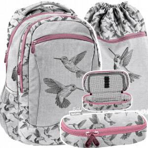 Úžasná dievčenská školská taška v trojsade s vtákmi