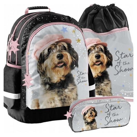 Krásna dievčenská školská taška v trojkombinácii so psíkom