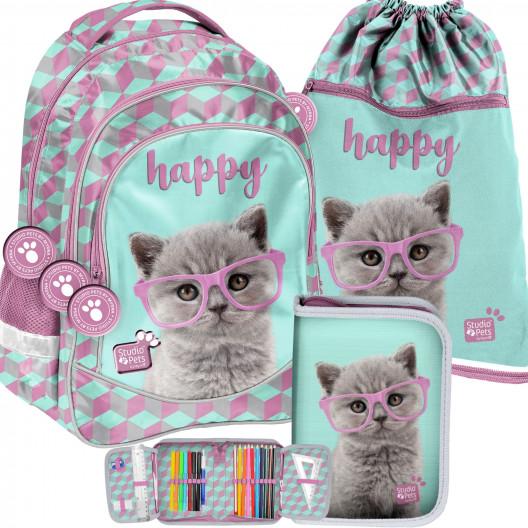 Trojdielna dievčenská školská taška s mačiatkom