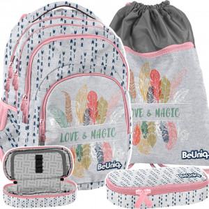 Trendy ružový dievčenský batoh s peračníkom a vakom LOVE