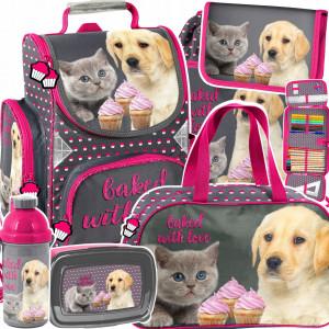 Roztomilá ružová šesťdielna školská taška pre dievčatá