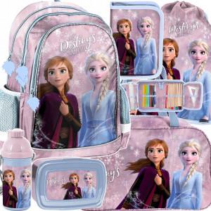Krásna dievčenská školská taška šesťdielna s motívom FROZEN