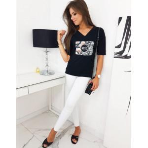 Dámske tričko Rose čiernej farby