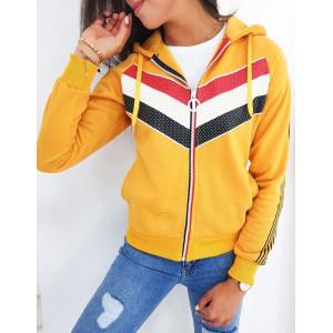 Krásna dámska mikina v žltej farbe na zips