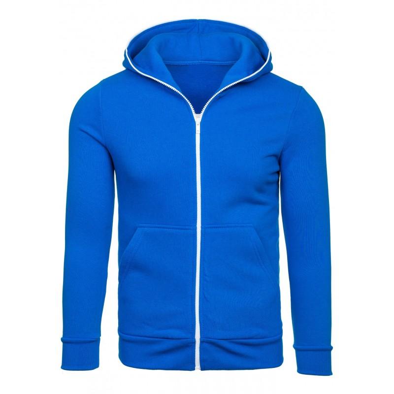 31e530d2613f Pánska mikina modrej farby s kapucňou na zips - fashionday.eu