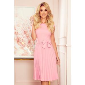 Romantické dámske ružové šaty s plisovanou sukňou