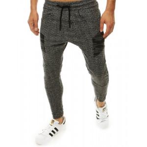 Luxusné pohodlné pánske nohavice v sivej farbe