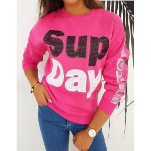 Pohodlná mikina pre dámy v rúžovej farbe s nápisom