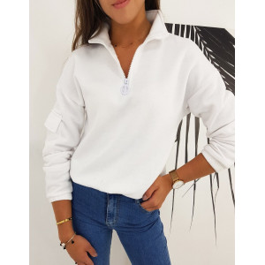 Pohodlná dámska mikina v bielej farbe na zips
