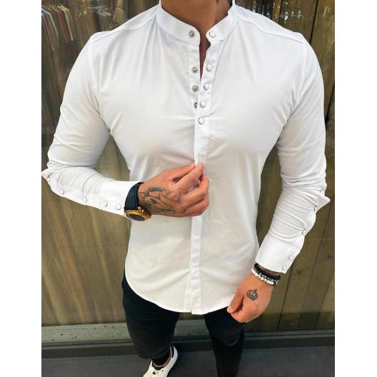 Pánska bavlnená košeľa s dlhým rukávom a zapínaním na cvočky