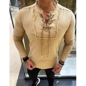 Štýlová pánska košeľa v hnedej farbe
