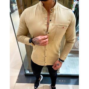 Luxusná pánska košeľa v béžovej  kombinácii