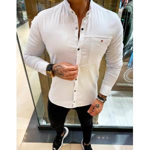Luxusná pánska košeľa v bielej kombinácii