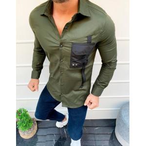 Krásna panská luxusná košeľa v olivovej farbe