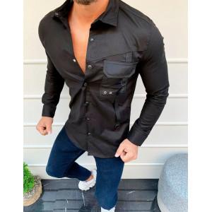 Krásna panská luxusná košeľa v čiernej farbe