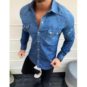 Krásna pánska džínsová košeľa